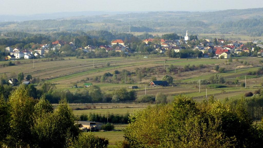 Widokz polany nad Podgórami na Stary Żmigród i Pogórze Jasielskie.