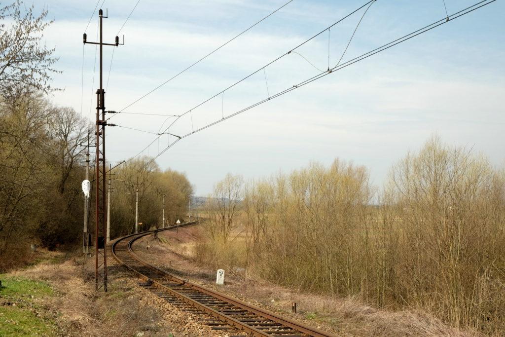 Fragment linii kolejowej Jasło - Stróże.