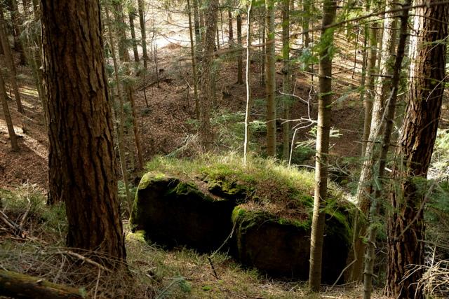 Ten duży kamień znajduje się nad wodospadem.