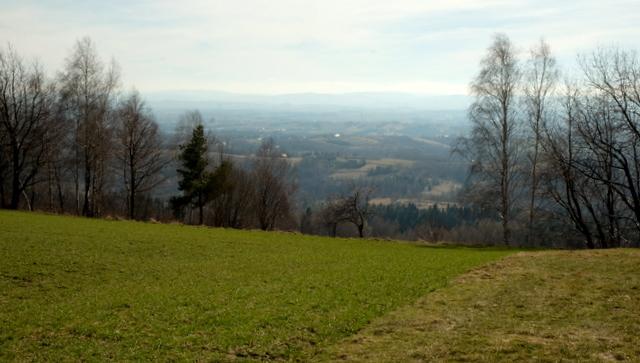 Widok na Kotlinę Jasielsko-Krośnieńską i Beskid Niski z Działu nad Kombornią.