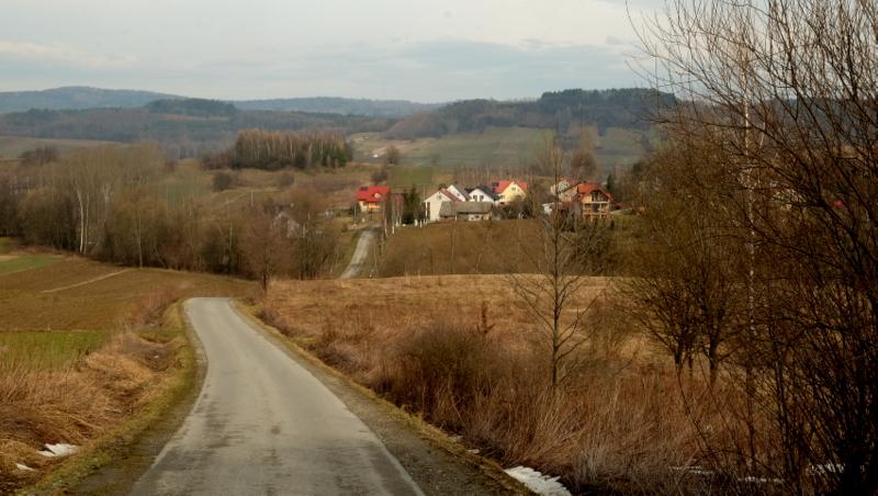 Widok ze wzgórz nad Januszkowicami.